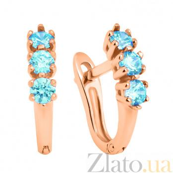 Золотые серьги Трио с голубыми кристаллами Swarovski 000032268