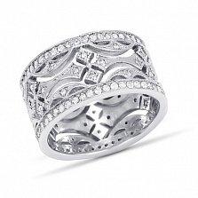 Серебряное родированное обручальное кольцо Объятия любви с белыми фианитами