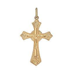 Золотой православный крестик Ясность в красном цвете 000057274