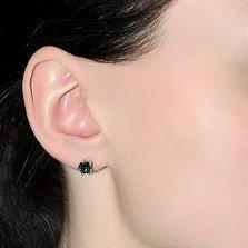 Серебряные серьги-пуссеты Карина с зеленым кварцем, 7мм