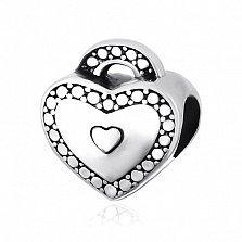 Серебряный шарм Любящее сердце