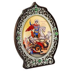 Икона Святой Георгий Победоносец с латунью, зелеными фианитами и цветной эмалью 000004193