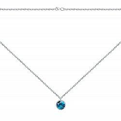 Колье из белого золота с синтезированным темно-голубым топазом 000133164