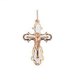 Золотой крестик в комбинированном цвете 000145474
