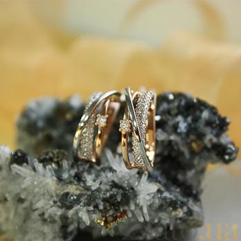 Серьги из красного золота с фианитами Бриджид SUF--110178/с