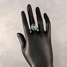 Серебряное кольцо Раджина с узорной шинкой, синтезированным кварцем и белыми фианитами