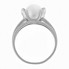 Кольцо из белого золота с жемчугом Логос