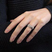 Серебряное мягкое кольцо Пальмовый лист с фианитами
