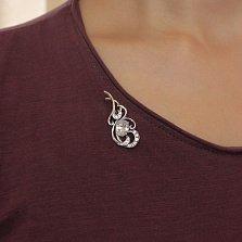Серебряная брошка Воздушное плетение с фианитами