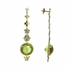 Золотые серьги с бриллиантами и лимонным топазом Vanessa