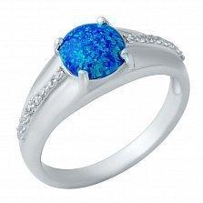 Серебряное кольцо Мальвина с опалом и фианитами
