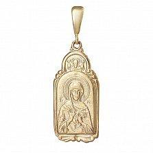 Серебряная ладанка Божья Матерь Семистрельная с позолотой