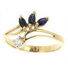 Золотое кольцо Oliviya из желтого золота с сапфиром