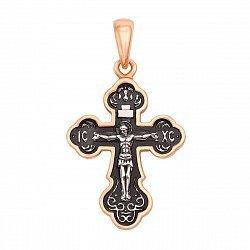 Серебряный крестик с позолотой и чернением 000123663