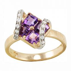 Золотое кольцо Доротея с синтезированными аметистами и фианитами