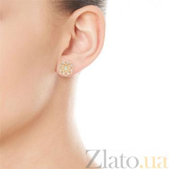Серьги из желтого золота с бриллиантами Восторг: Цветочные облака 4234