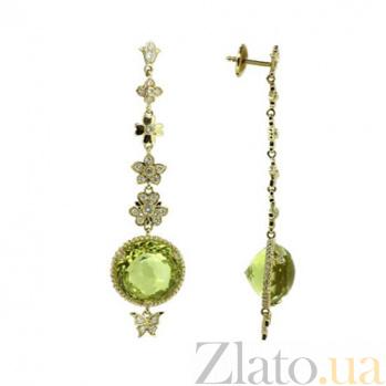 Золотые серьги с бриллиантами и лимонным топазом Vanessa ZMX--EDTy-00451y