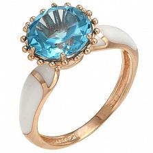 Золотое кольцо Маритана с голубым топазом и эмалью