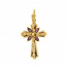 Дизайнерский золотой крест Безос с узорной основой, турмалинами и лейкосапфирами