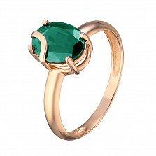 Кольцо из красного золота Жанин с синтезированным зеленым кварцем
