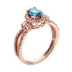 Кольцо из красного золота с топазом и цирконием 000135015