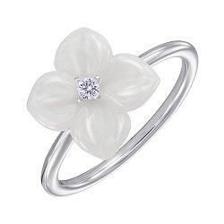 Кольцо из серебра с керамикой и фианитом 000147475