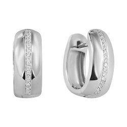Серьги-колечки из белого золота с бриллиантами, 14мм 000081130
