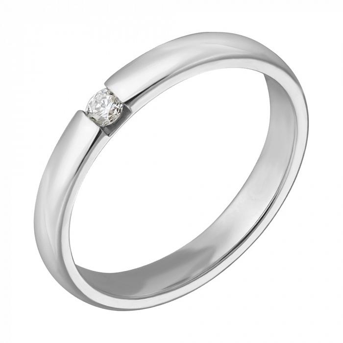 Обручальное кольцо из белого золота Нежность с бриллиантом  000001612