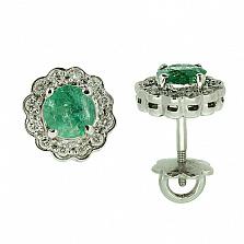 Серебряные серьги Мариэль с изумрудами и бриллиантами