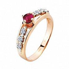 Золотое кольцо с рубином и бриллиантами Венера