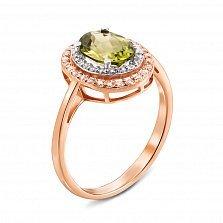 Золотое кольцо в комбинированном цвете с хризолитом и фианитами 000134251