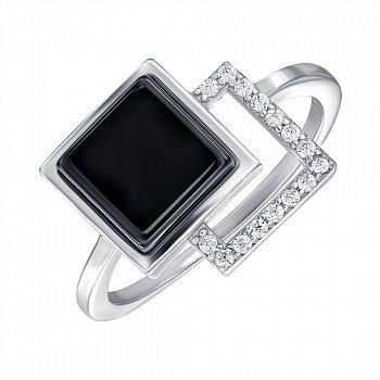 Кольцо серебряное с керамикой и фианитами 000147853