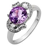 Серебряное кольцо Метель с аметистом и белым цирконием