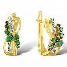 Серьги из желтого золота Изабелла с изумрудами и бриллиантами