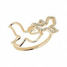 Кольцо в желтом золоте Голубки с бриллиантами