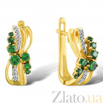 Серьги из желтого золота Изабелла с изумрудами и бриллиантами 000045919