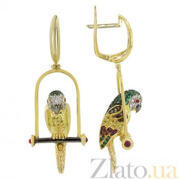 Серьги-подвески Попугай в желтом золоте с фианитами VLT--ТТ2564