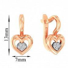 Золотые серьги Двойное сердце в комбинированном цвете с кристаллами циркония