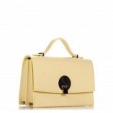 Кожаный клатч Genuine Leather 1520 ванильного цвета с короткой ручкой и плечевым ремнем