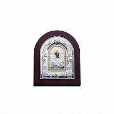 Серебряная икона Божьей Матери Семистрельная с позолотой