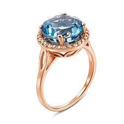 Кольцо из красного золота с топазом и фианитами 000137449