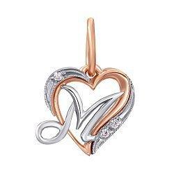 Золотой кулон-сердце Буква М в комбинированном цвете с фианитами 000094156