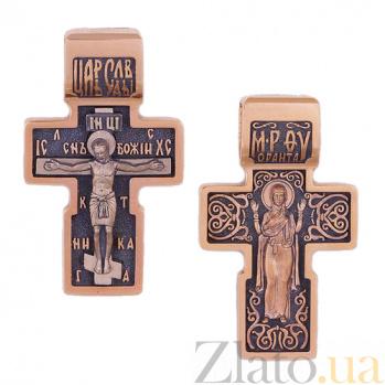 Крест из золота с чернением Иисус и Богоматерь HUF--11490-Ч