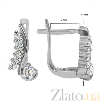 Серебряные серьги с фианитами  Мелисса 10030014