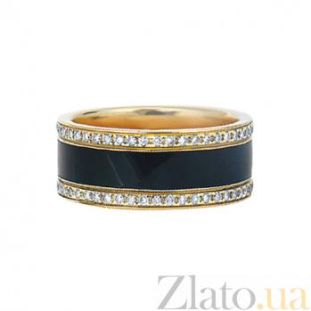 Золотое кольцо с бриллиантами и эмалью Черный ирис 000029706