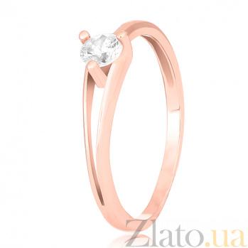 Серебряное кольцо Айлин с фианитом и позолотой 000028182