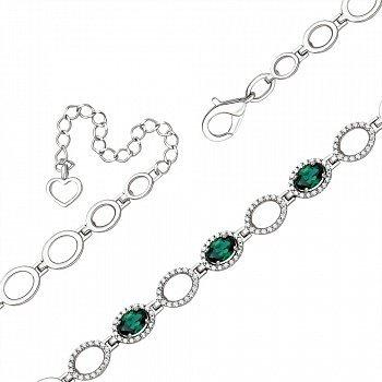 Серебряный браслет с зеленым кварцем и фианитами 000145361