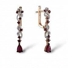 Серьги в красном золоте Аделайн с рубином и бриллиантами