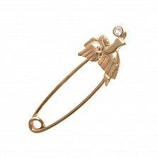 Золотая булавка Благословение ангела с завальцованным фианитом