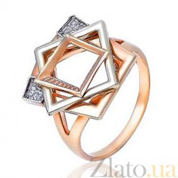 Золотое кольцо с вставками фианитов Квадратные сны EDM--КД0435